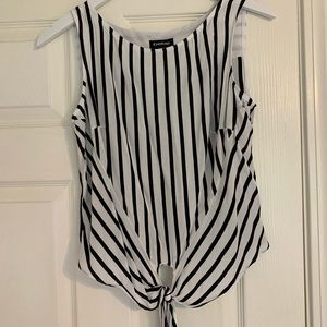 BEBE Black and White Striped Top
